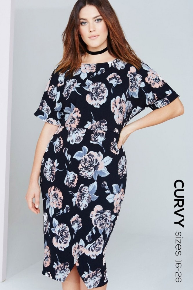 Girls On Film Curvy Floral Print Shift Dress