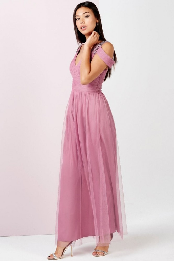 Little Mistress Rose Embellished Drape Shoulder Maxi Dress