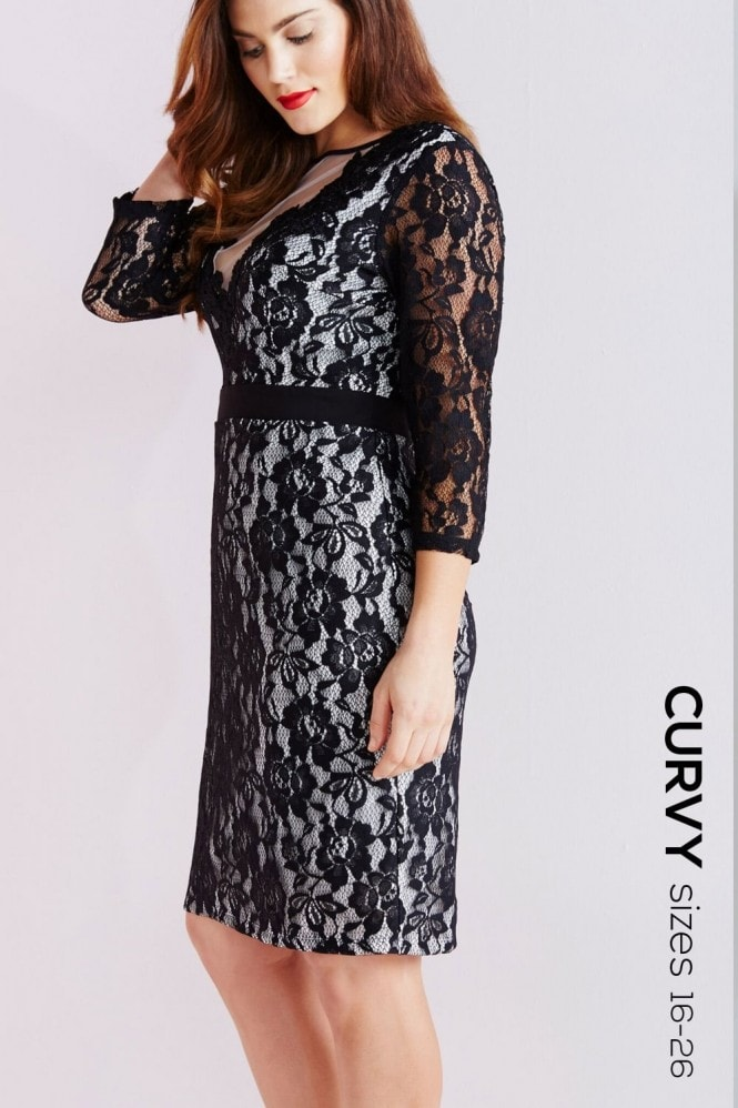 Little Mistress Curvy Black Lace Bodycon Dress