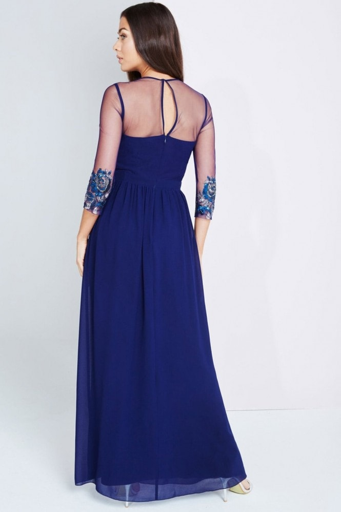 Little Mistress Navy Embellished Sheer Maxi Dress