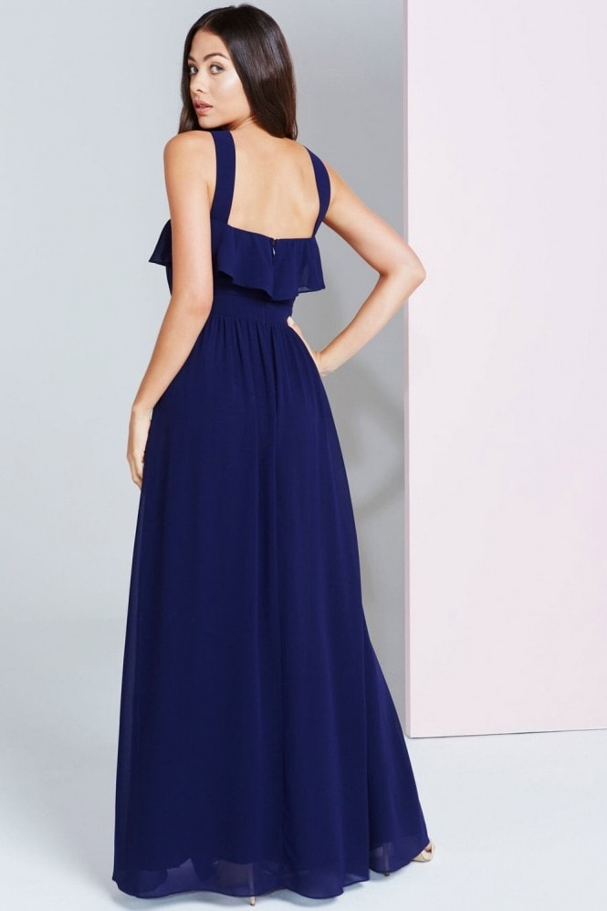 Little Mistress Navy Embellished Maxi Dress With Ruffle