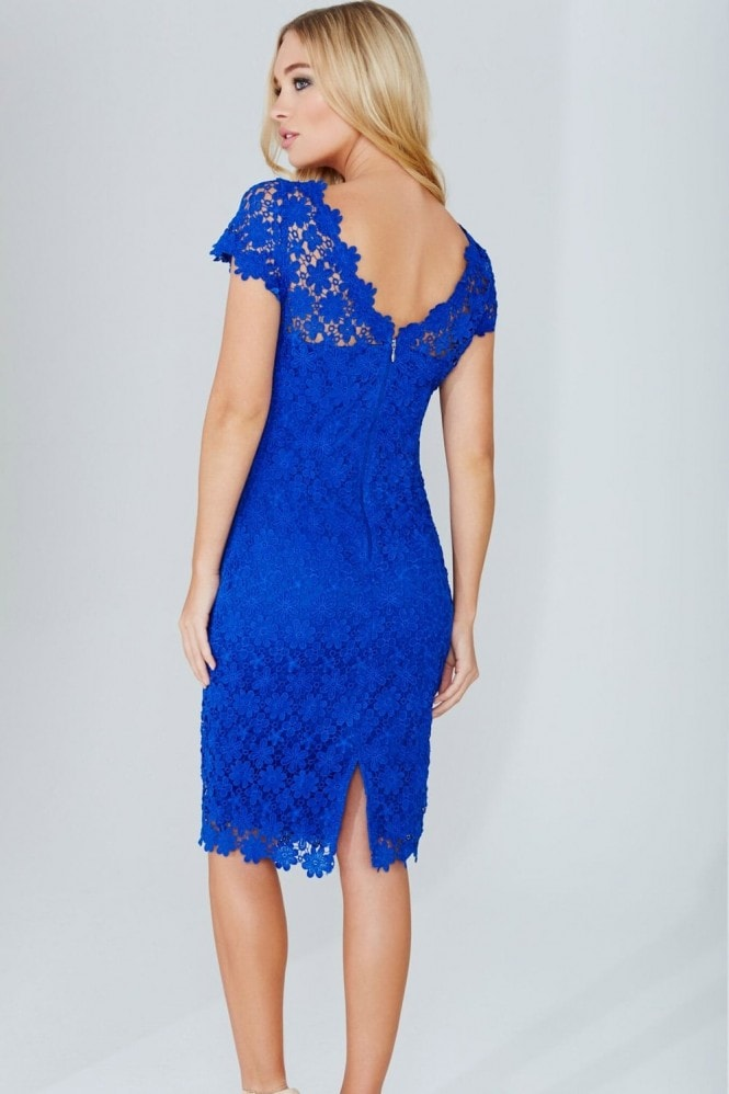 Paper Dolls Blue Crochet Lace Dress With V-Neck Detail