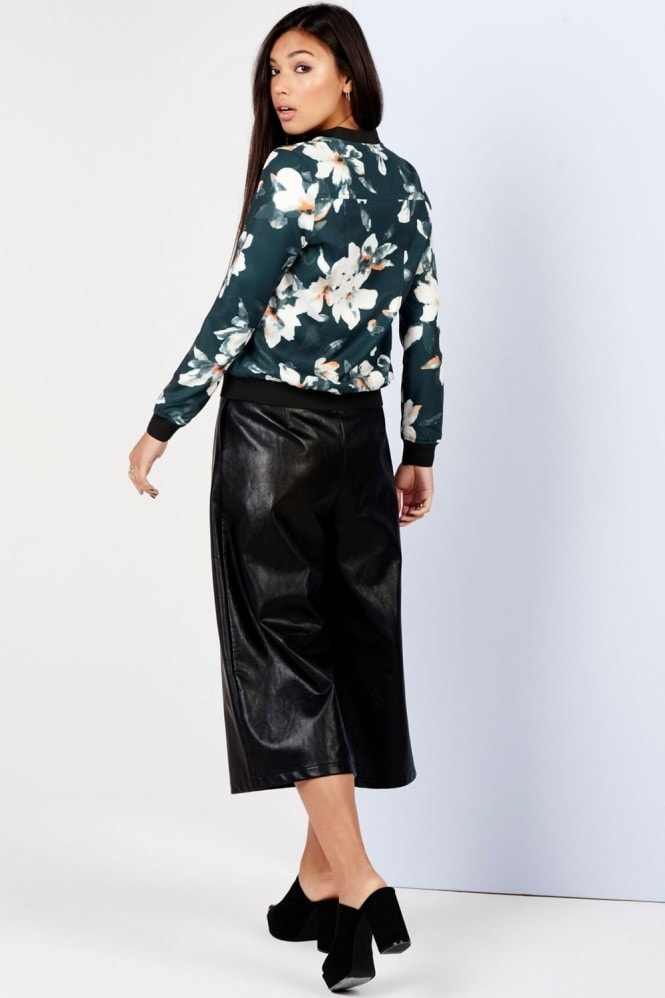 Girls on Film Floral Print Bomber Jacket