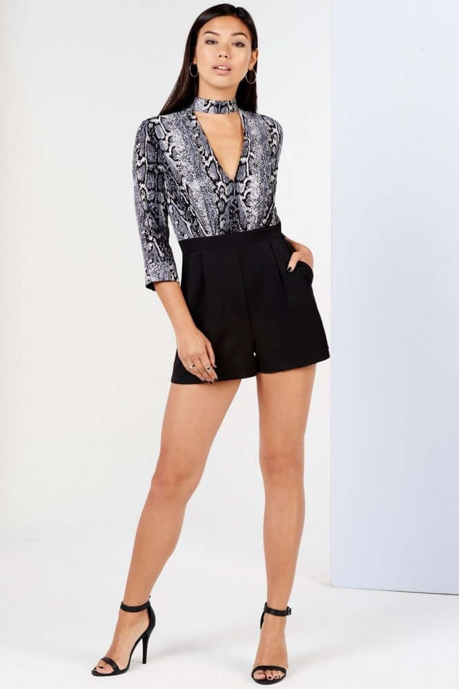 Outlet Girls On Film Snake Print Keyhole Playsuit