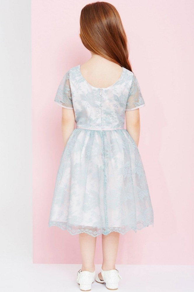 Little MisDress Sage And Pink Lace Overlay Dress