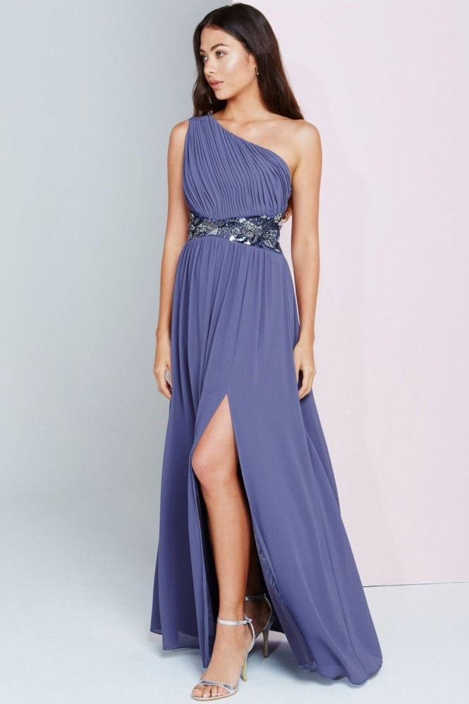 Little Mistress Lavender Grey One Shoulder Maxi Dress