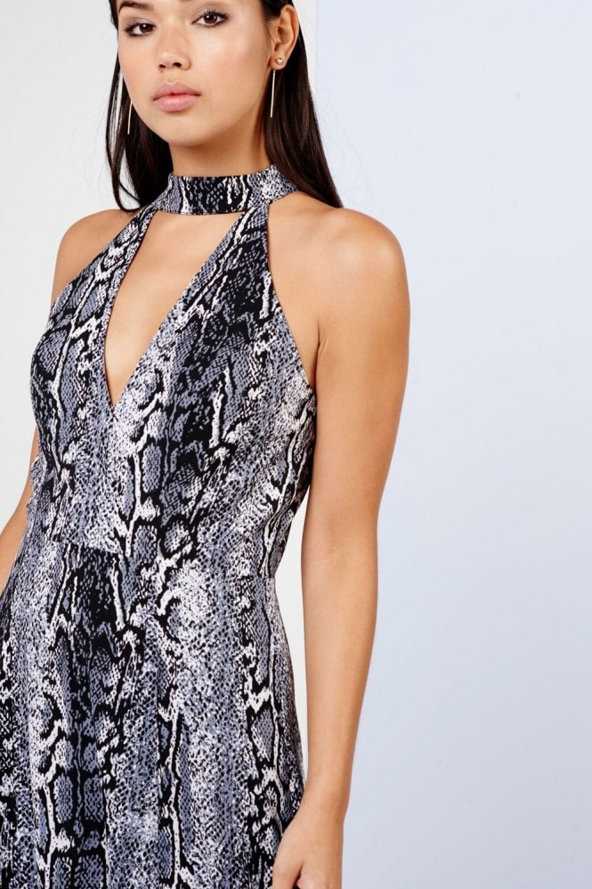 Girls on Film Snake Print Keyhole Maxi Dress
