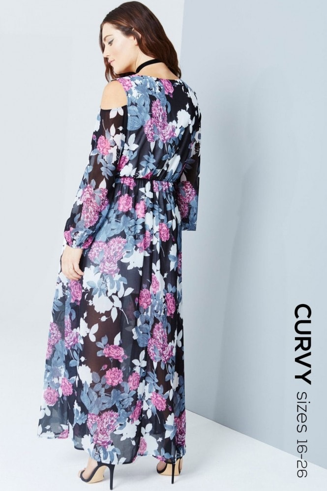 Outlet Girls On Film Floral Print Cold Shoulder Maxi Dress
