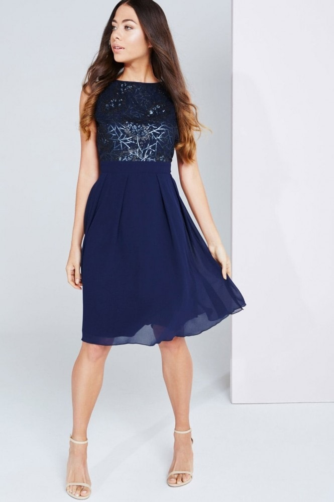 Little Mistress Navy Sequin Top Dress