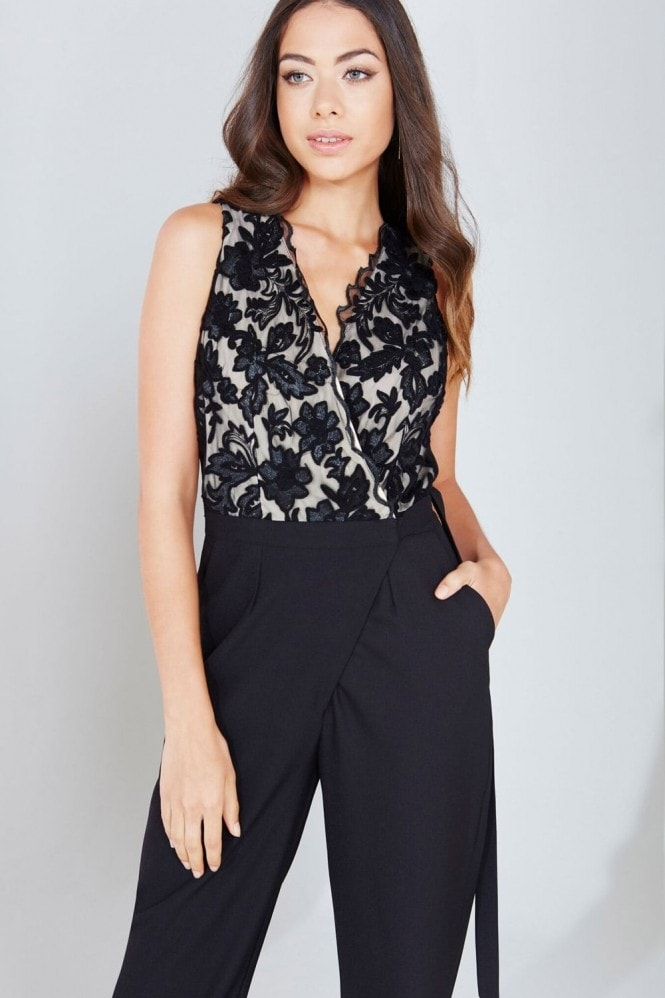 Little Mistress Black Embroidered Wrap Front Jumpsuit