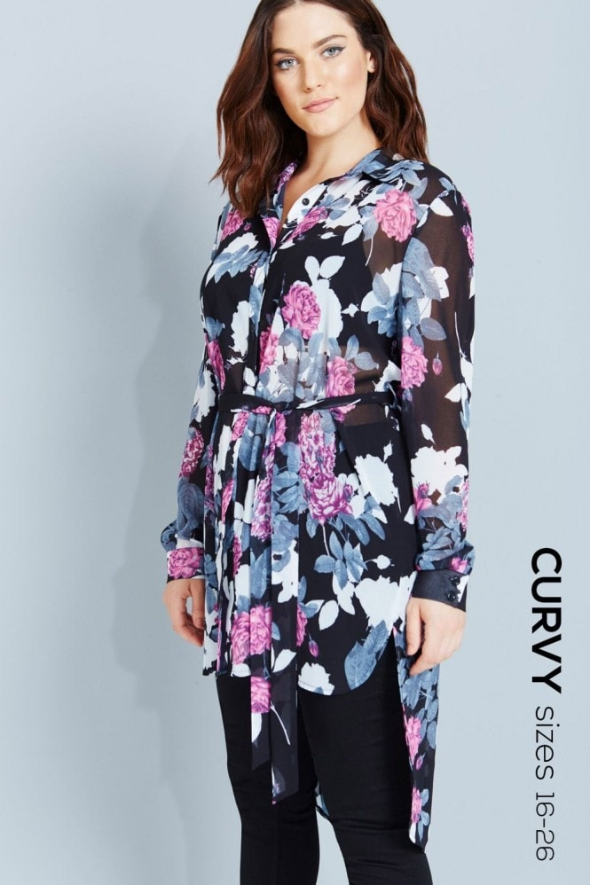 Girls On Film Curvy Floral Print Shirt Dress With Tie
