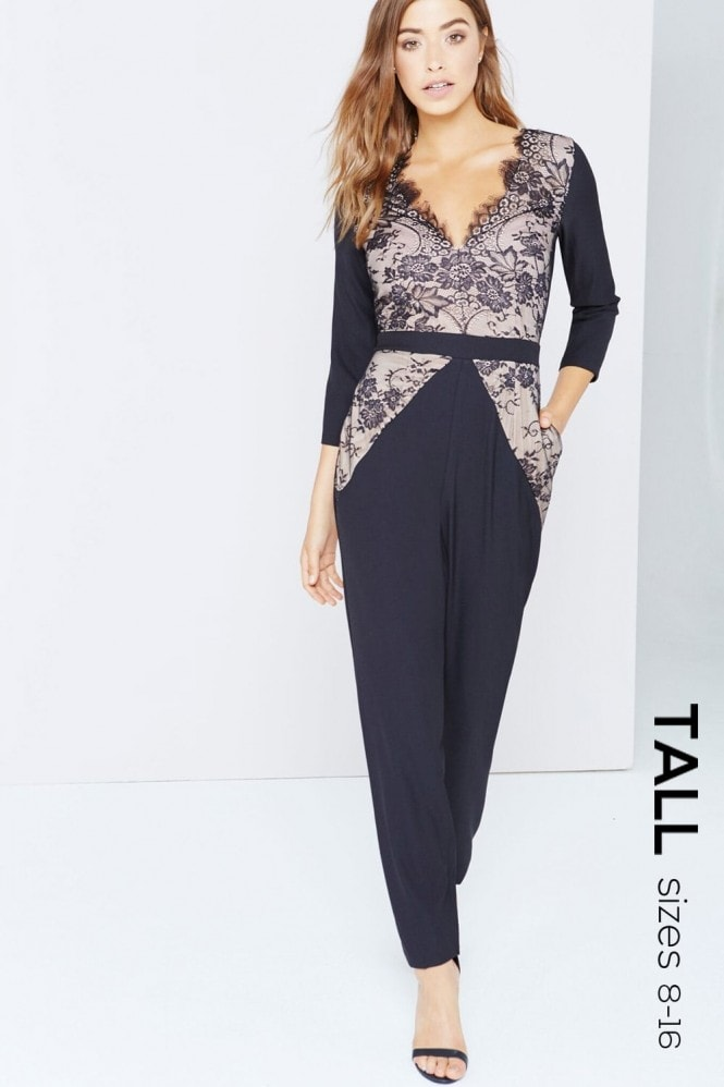 Black Lace Panel Jumpsuit