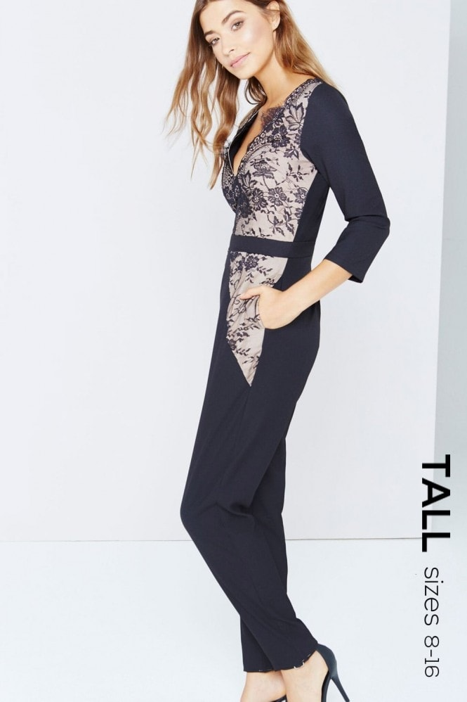 Tall Black Lace Panel Jumpsuit