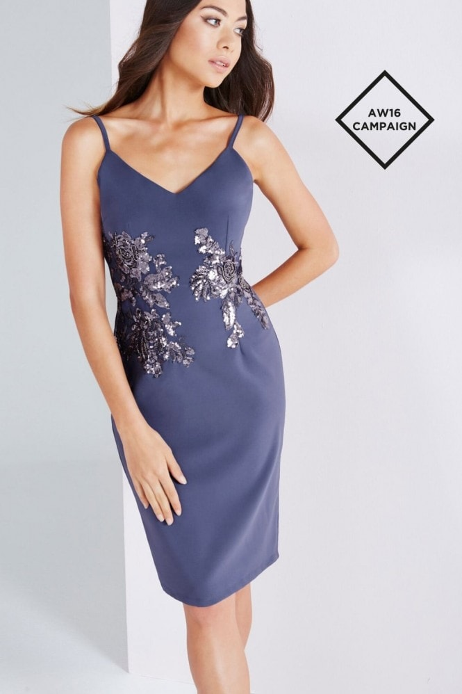 Lavender Grey Cami Dress With Gold Sequin