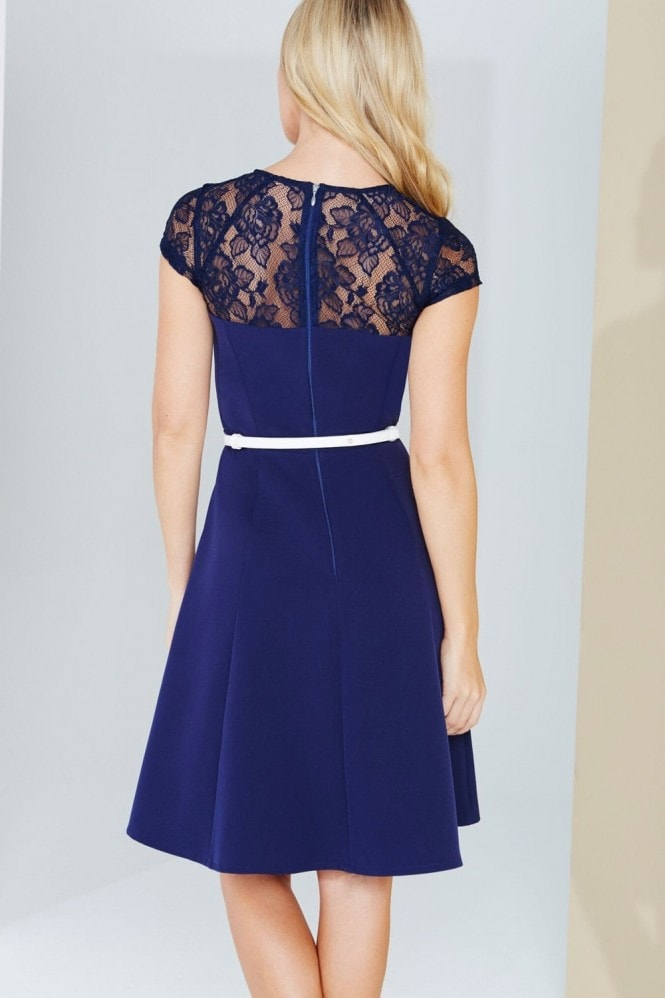 Paper Dolls Navy Lace Detail Fluted Swing Dress