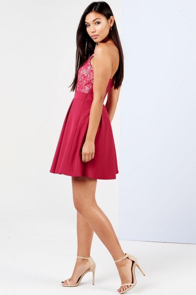 Girls on Film Raspberry Lace Top Skater Dress