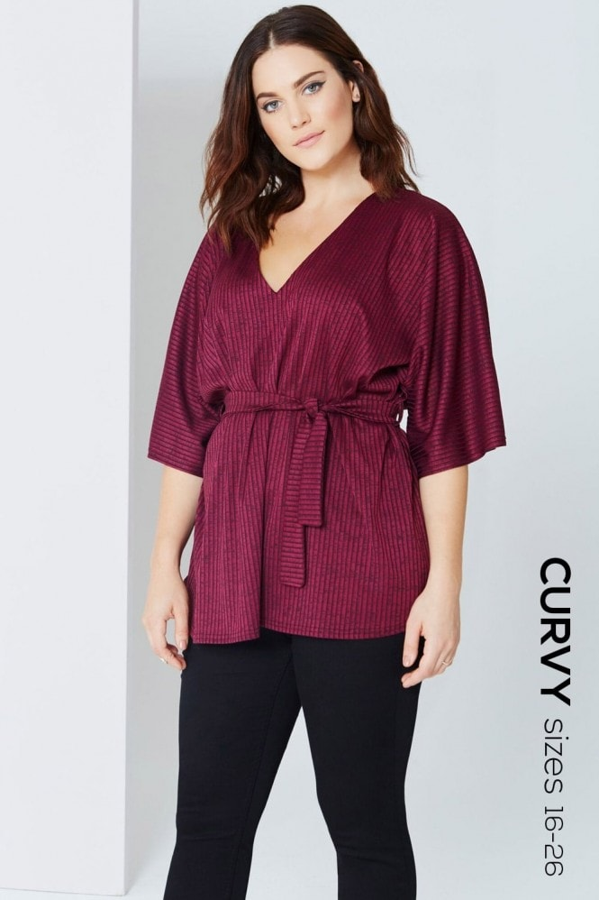 Girls On Film Curvy Plum Kimono Sleeve Top With Tie