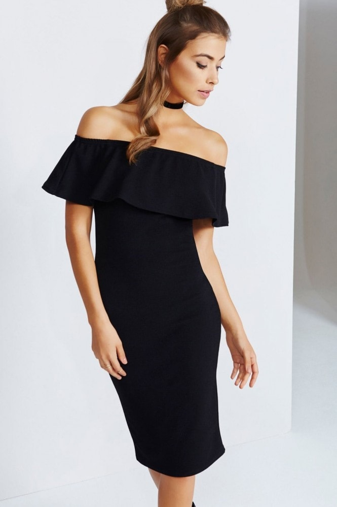 Girls on Film Black Midi Dress With Ruffle