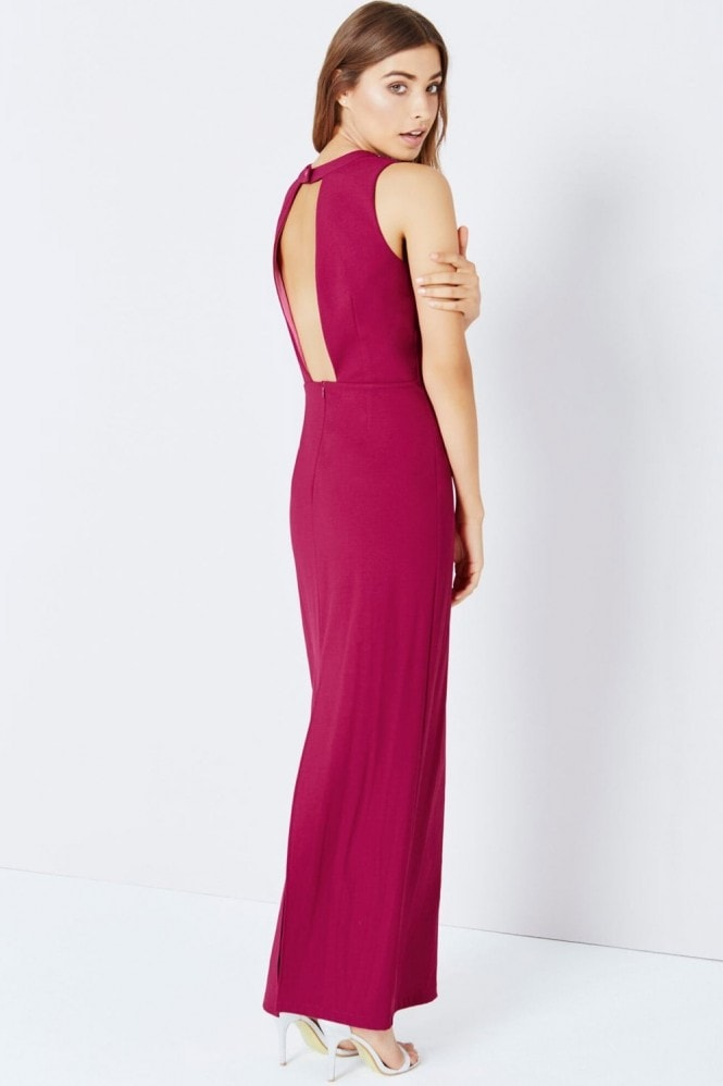 Little Mistress Raspberry Jewel Shoulder Maxi Dress