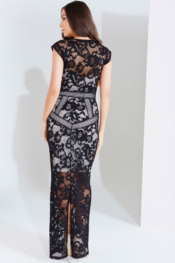 Little Mistress Black Lace Panel Maxi Dress