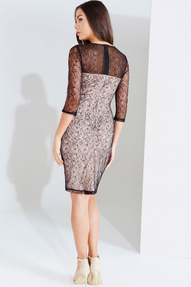 Little Mistress Black And Beige Lace Applique Bodycon Dress