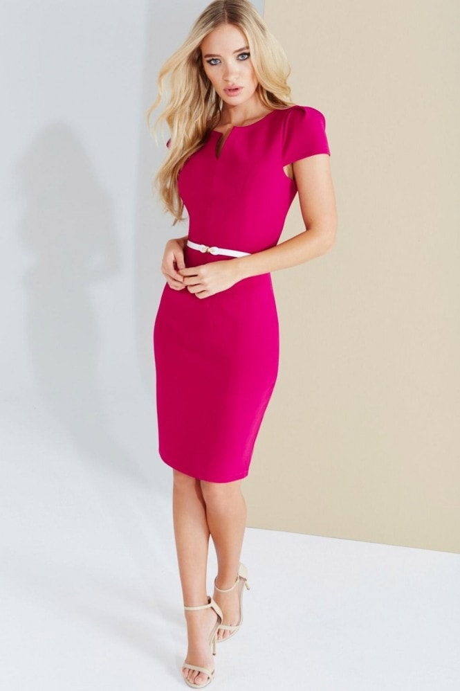 Paper Dolls Magenta Notch Neck Dress With Belt