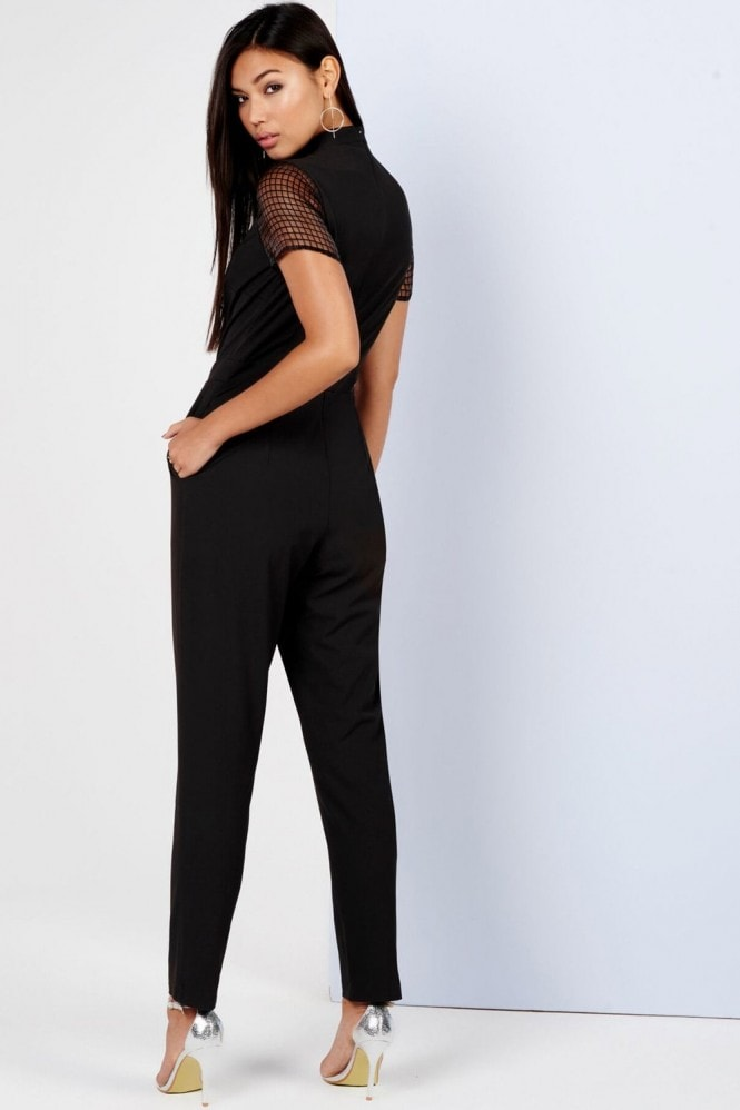 Girls on Film Black Sheer Grid Jumpsuit