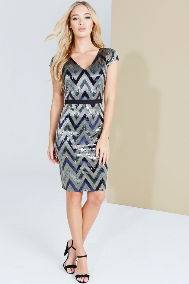 Paper Dolls Blue Zig Zag Shimmer Sequin Dress