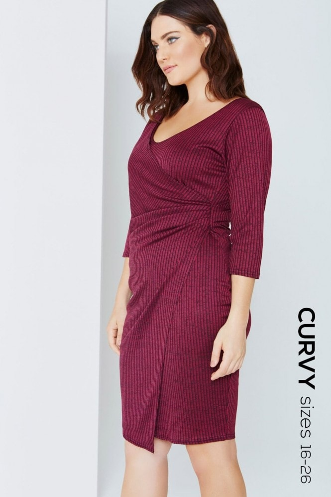 Outlet Girls On Film Plum Wrap Front Bodycon Dress