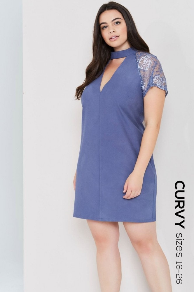 Girls On Film Curvy Grey Lace Sleeve Shift Dress