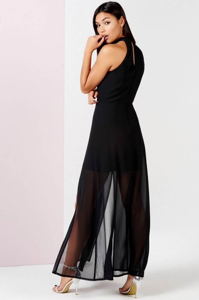 Girls on Film Black Keyhole Maxi Dress With Slits
