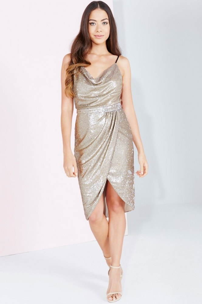 Little Mistress Gold Sequin Wrap Front Skirt