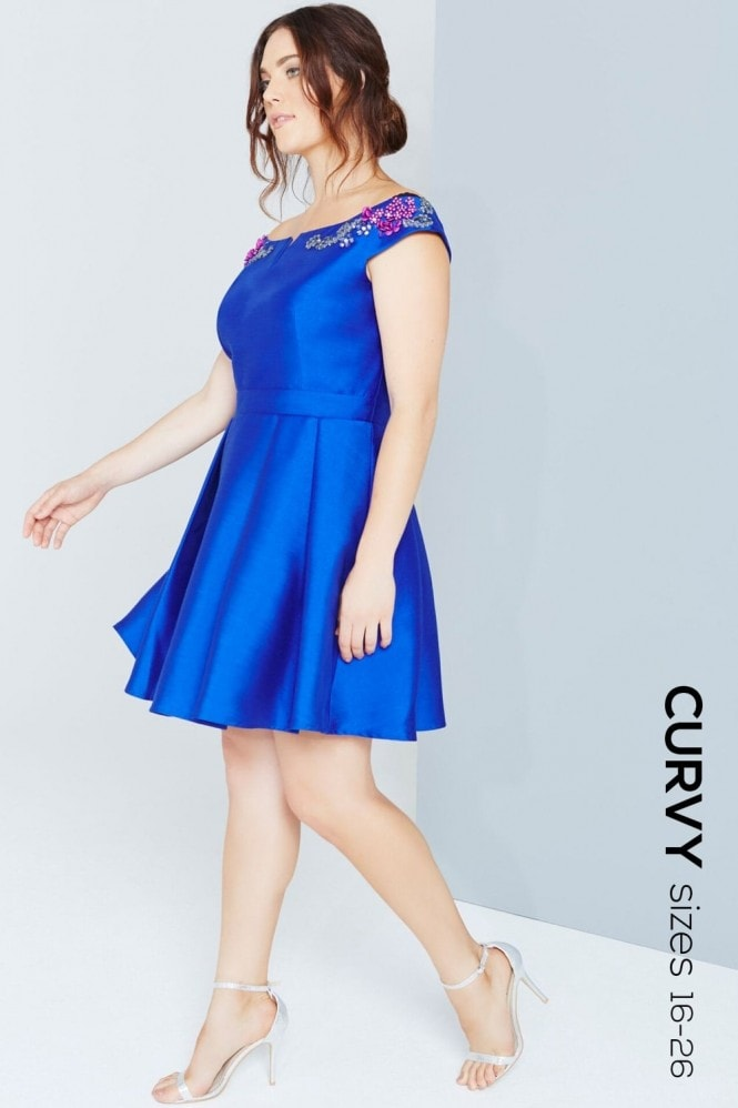 Cobalt Mini Prom Dress With Jewels