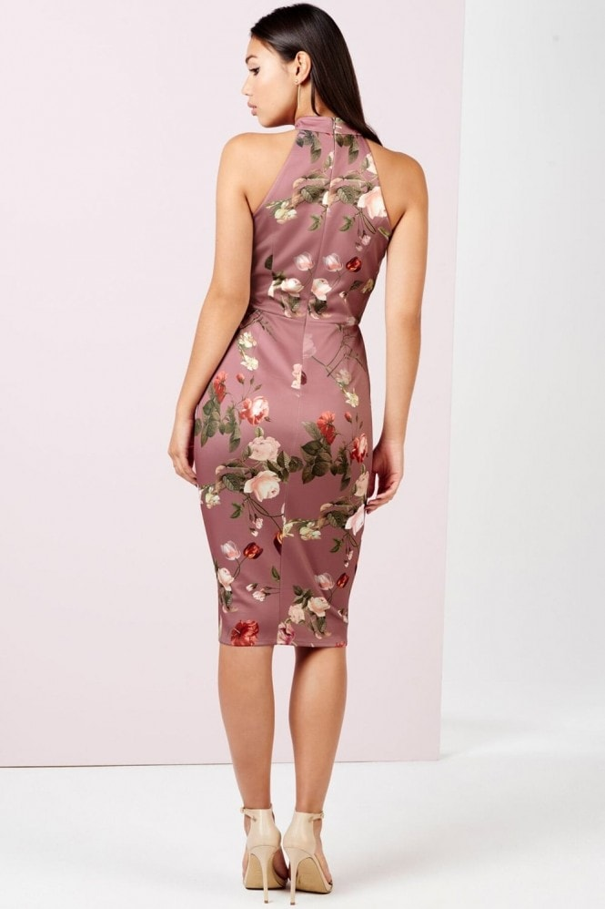 Girls on Film Tulip Print Midi Dress With Cut Out