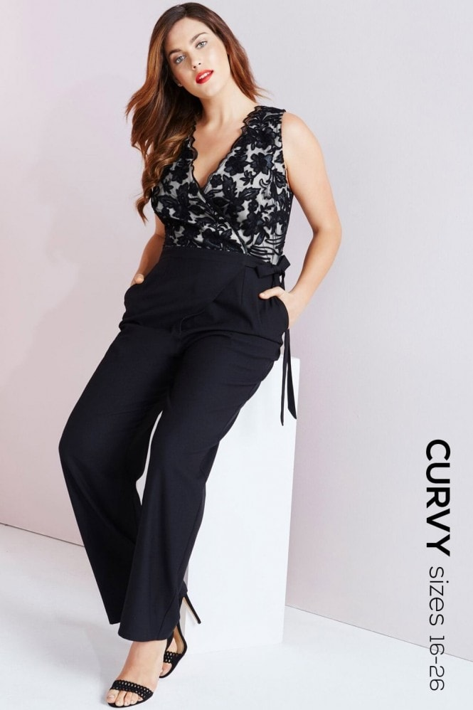 Little Mistress Curvy Black Embroidered Wrap Front Jumpsuit
