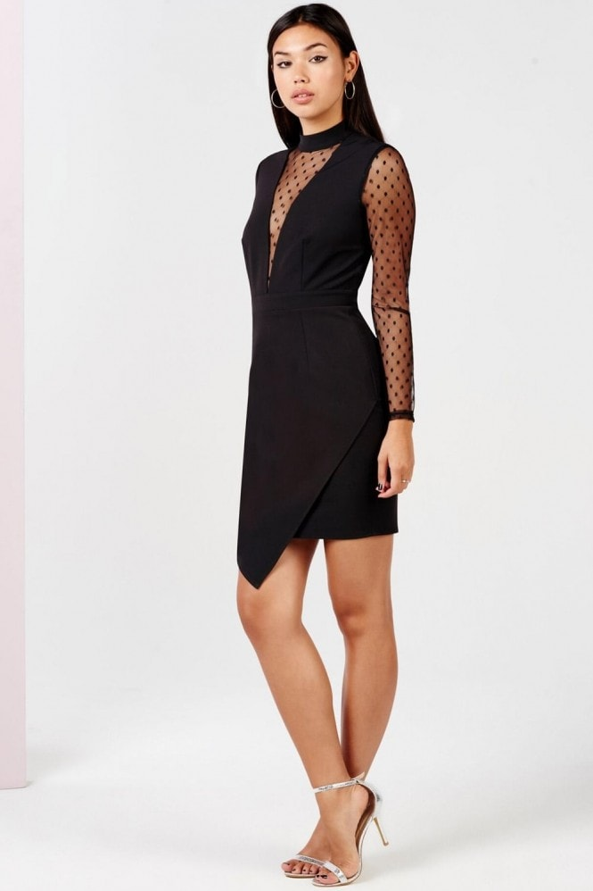 Girls on Film Black Polka Dot Mesh Dress