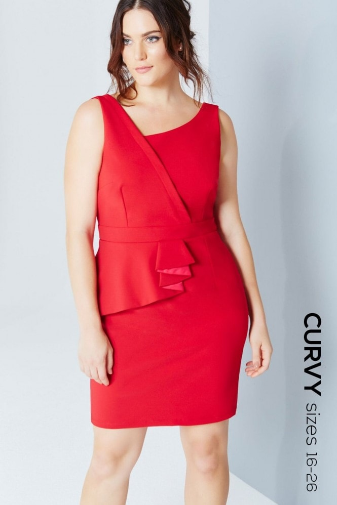 Red And Pink One Shoulder Pleat Dress