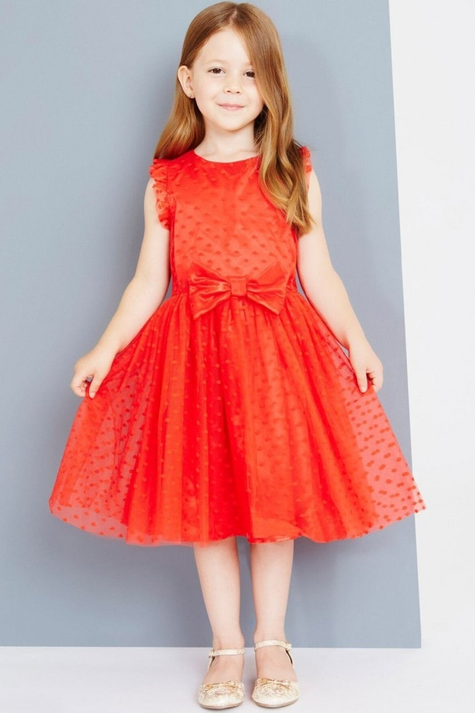 Little MisDress Red Spot Mesh Dress With Bow