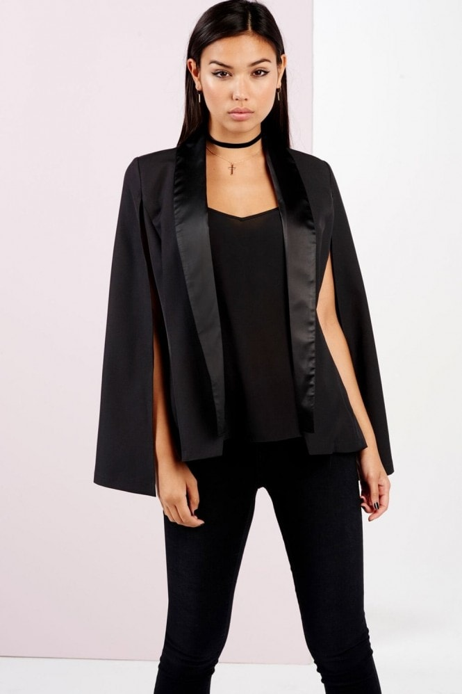 Girls on Film Black Satin Lapel Cape Jacket