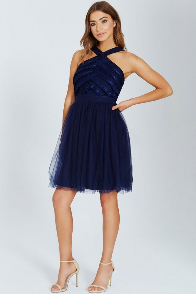 Little Mistress Navy Ribbon and Lace Prom Dress