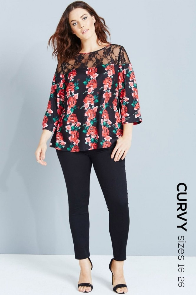 Girls On Film Curvy Rose Print Top With Lace
