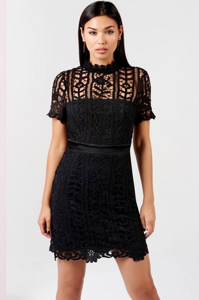 Girls on Film Black Crochet Mini Dress