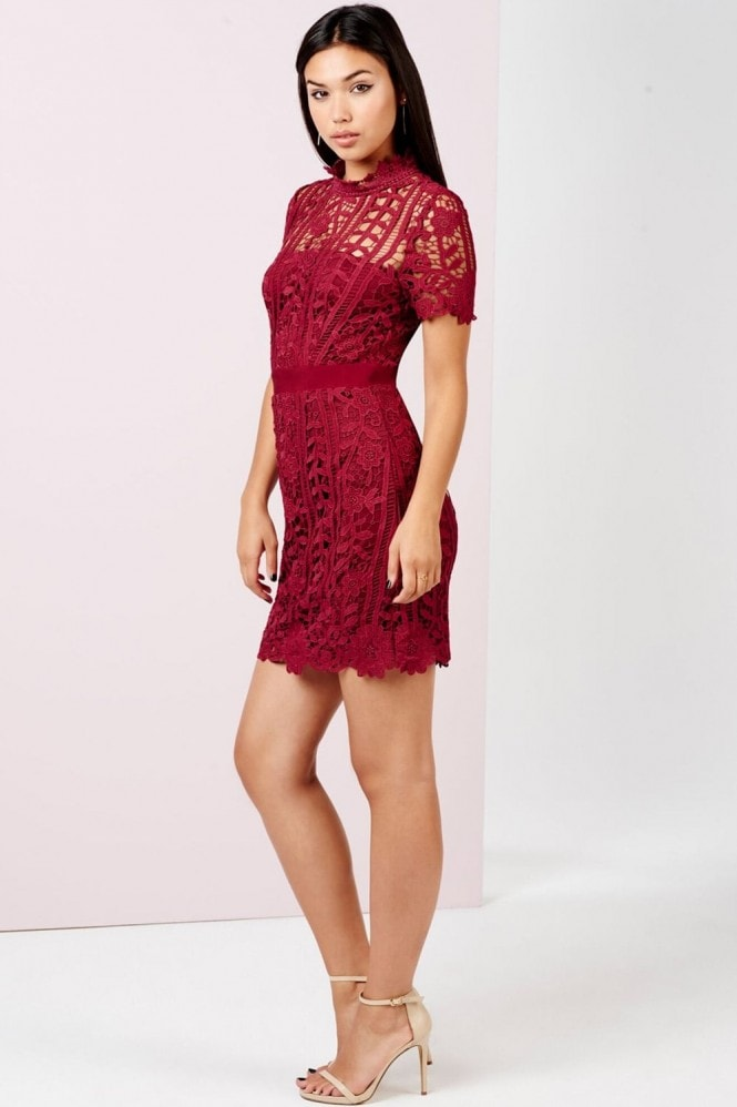 Girls on Film Burgundy Crochet Mini Dress