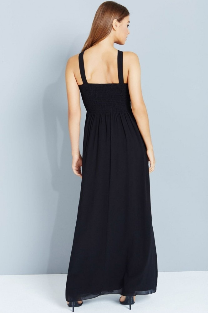 Little Mistress Black And Navy Sequin Maxi Dress