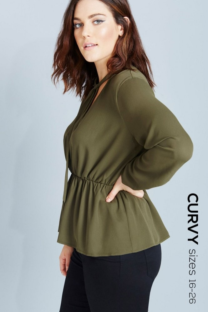 Outlet Girls On Film Khaki Pussybow Peplum Blouse