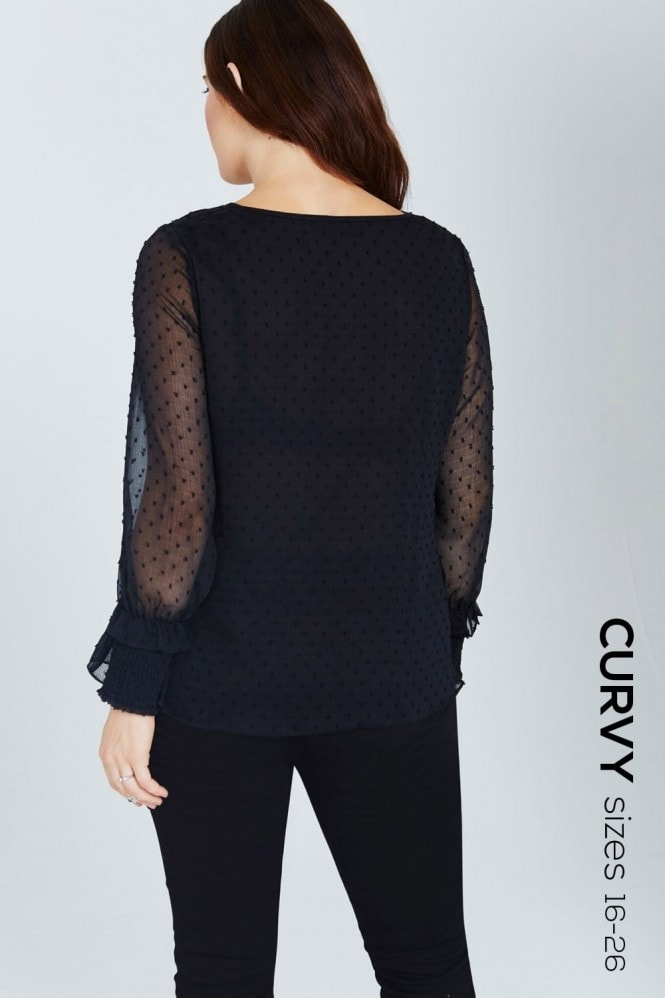Girls On Film Curvy Black Polka Dot Lace-Up Blouse