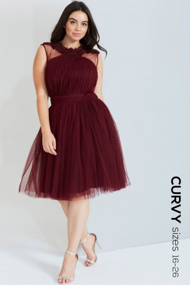 Little Mistress Curvy Maroon Lace And Mesh Prom Dress