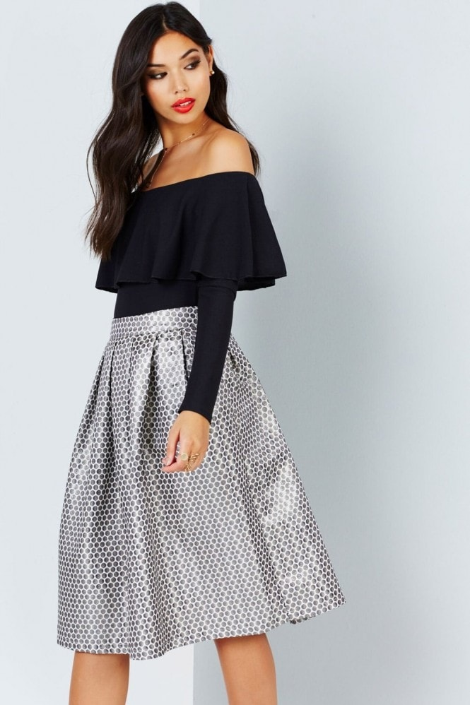 Girls on Film Metallic Spot Jacquard Midi Skirt