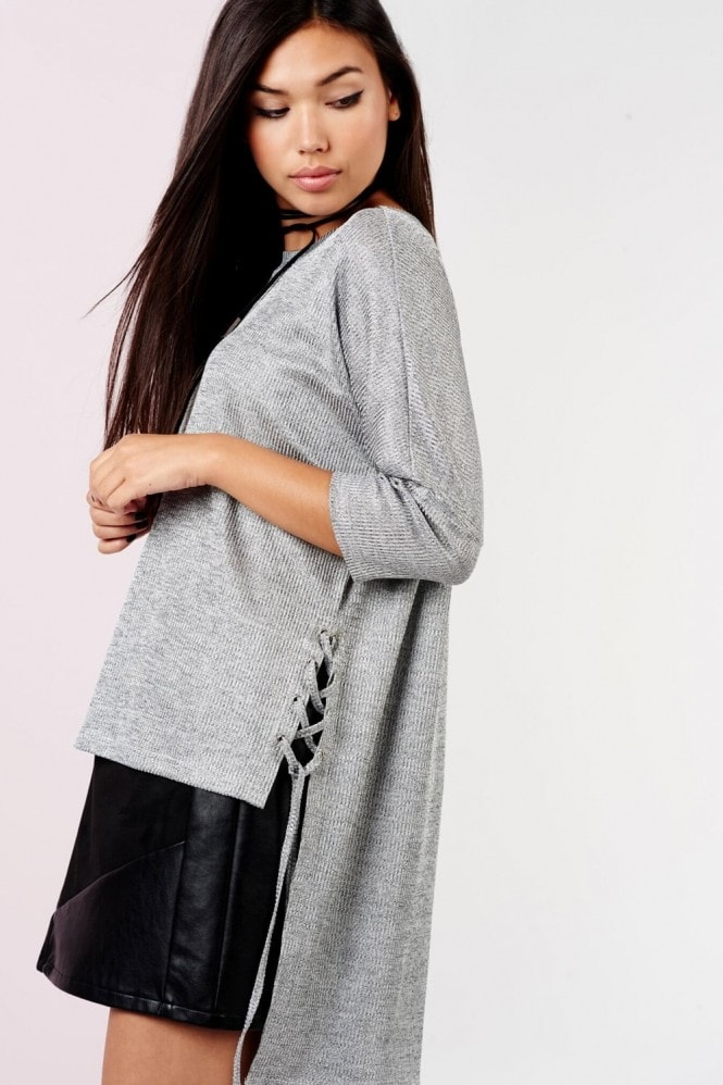 Girls on Film Silver Step Hem Jumper With Ties
