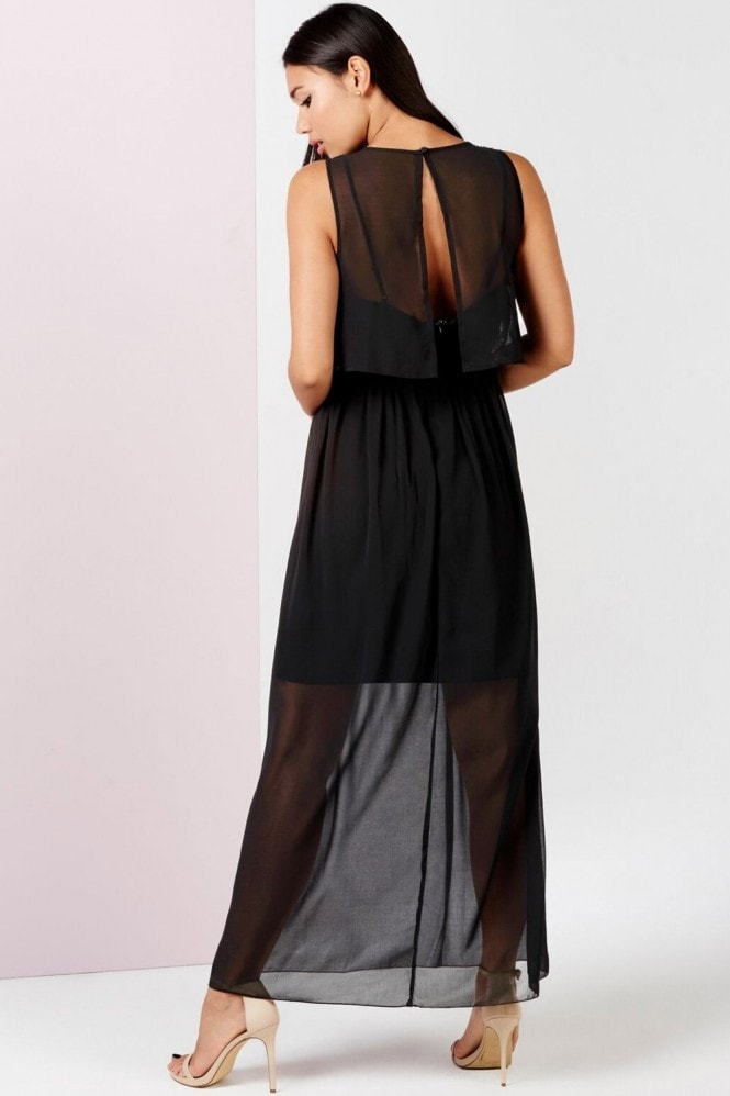Girls on Film Black Embellished 2 In 1 Maxi Dress